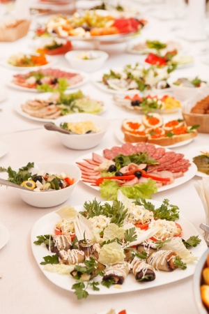 catered: food at a wedding party