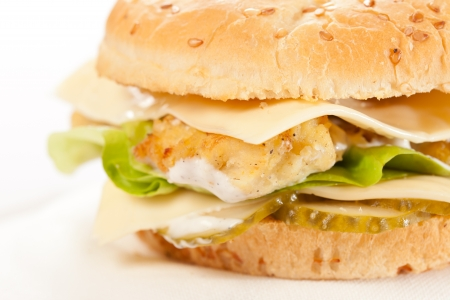 chicken burger: cheeseburger on the plate  Stock Photo
