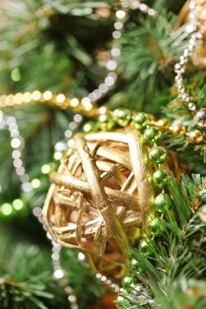 pine needles close up: holiday background Stock Photo