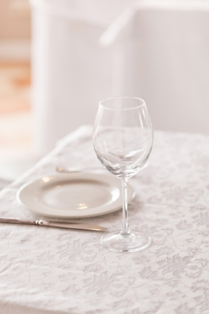 wedding table setting: restaurant interior  Stock Photo