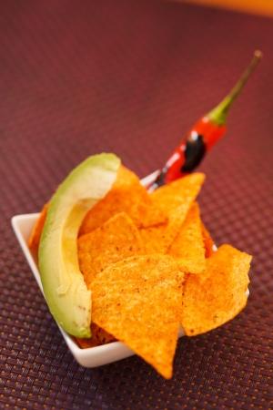tortilla with chili and avocado photo