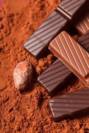 chocolate with cocoa beans  photo