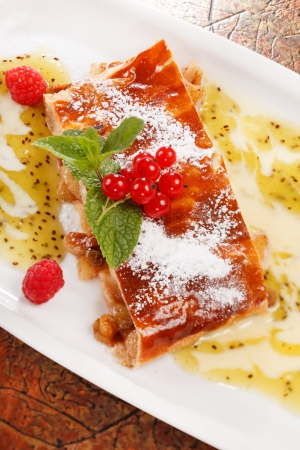 apple strudel with berries photo