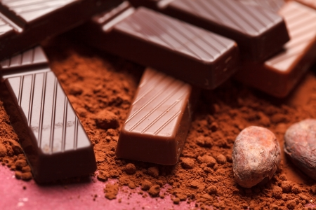 dark chocolate: chocolate with cocoa beans  Stock Photo