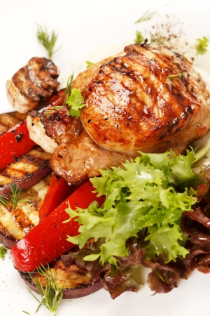 Chicken Steak with vegetables Stock Photo - 16230992