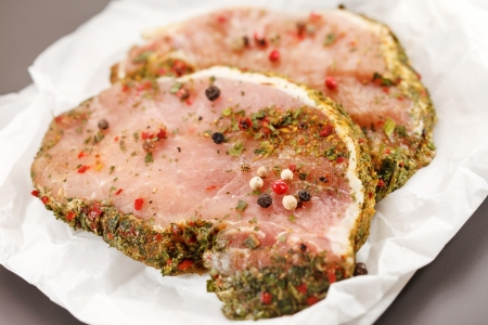 raw pork meat with spice photo