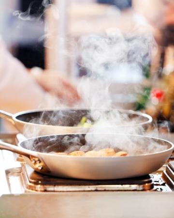 scallops: chef at work Stock Photo