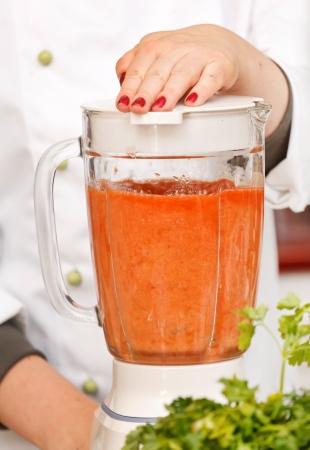 blender: tomato in the blender Stock Photo
