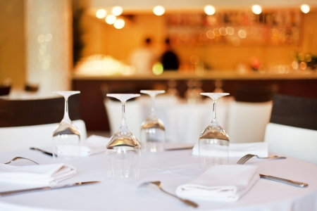 Tables set for meal  Stock Photo - 16629523