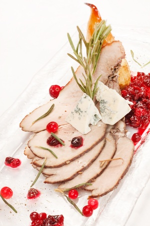 Grilled meat with cranberry sauce photo