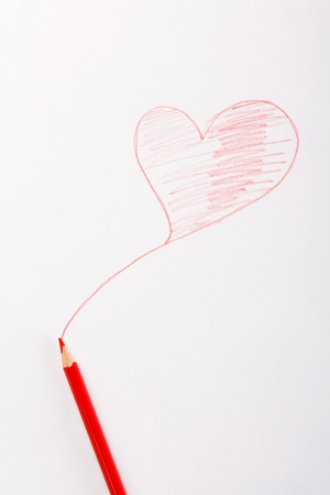 drawn red heart and pencil Stock Photo - 16783232