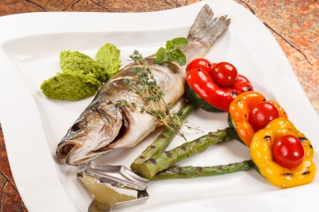 grilled fish with asparagus photo