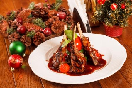 christmas eve: Roasted lamb ribs