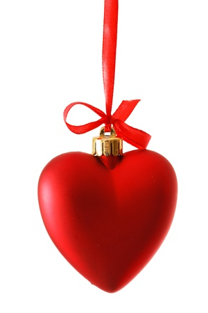 red heart on ribbon