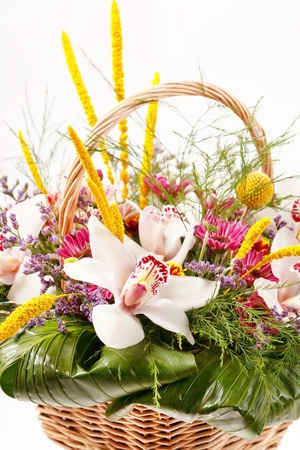 Beautiful flowers in a basket  photo