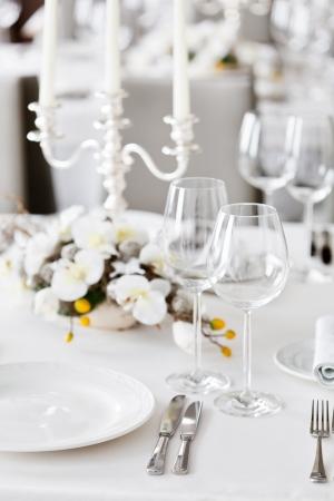 dinner table: restaurant interior  Stock Photo