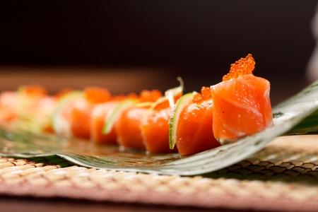 sushi on the leaf Stock Photo