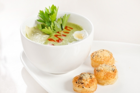 Green cream soup photo