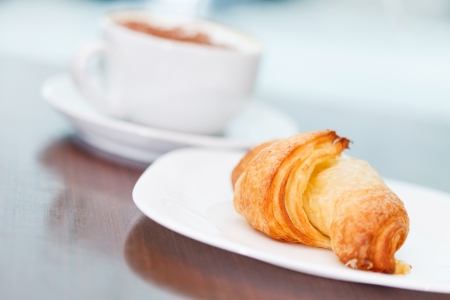 morning coffee with croissant photo