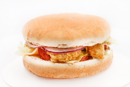 chicken burger with vegetables photo