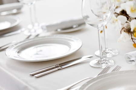 plate setting: restaurant interior  Stock Photo