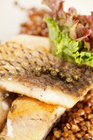 carp with green lentil photo