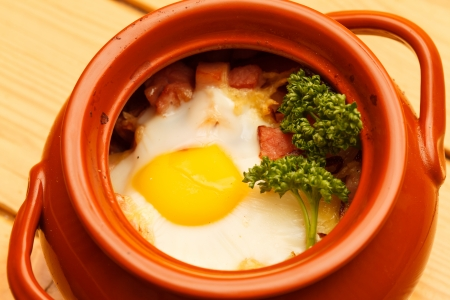 meat with egg in the pot Stock Photo - 18858282
