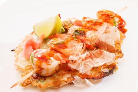 kebab with shrimps photo