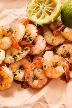 shrimps with lime and parsley  photo