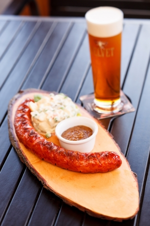 sausage with salad photo