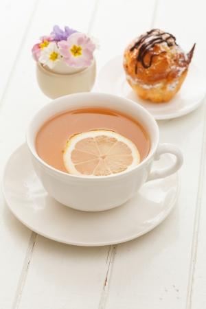 cake with tea photo