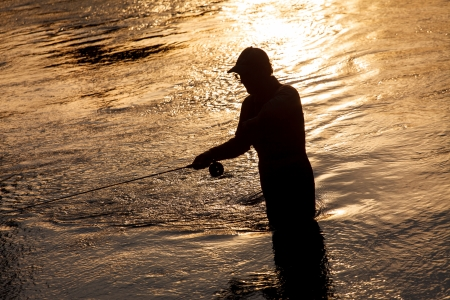 rive: fisherman on the rive Stock Photo