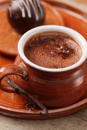 hot chocolate with chocolate ball photo