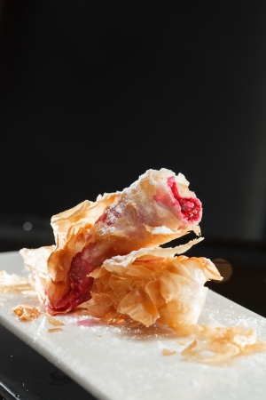 filo pastry: dessert with berries  Stock Photo