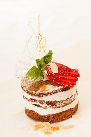 chocolate dessert with strawberry Stock Photo