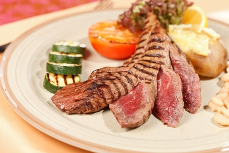 steak with grilled vegetables photo