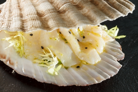 coquille: scallops served in a shell Stock Photo