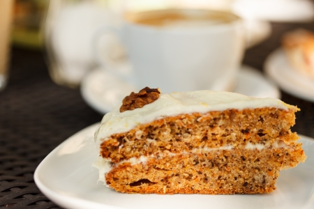 carrot cake with coffee photo