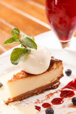 cheesecake with ice cream photo