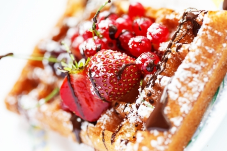 Belgian waffles with fruit photo