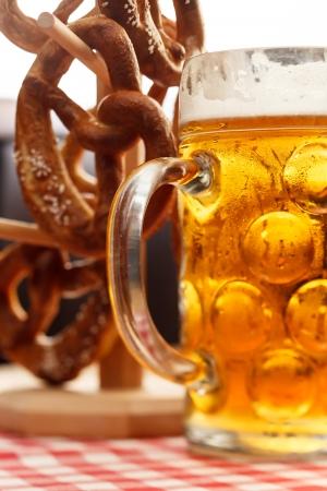 german pretzel bread with beer photo