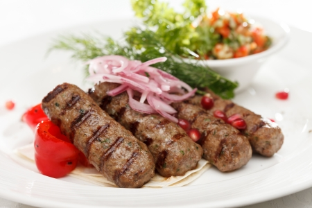 kebab with vegetables Stock Photo