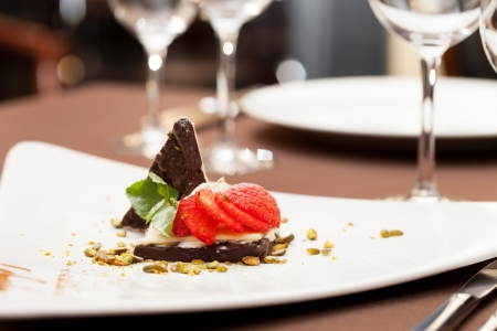 dessert with chocolate and strawberry photo