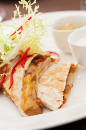 kebab sandwich with chicken and cheese photo