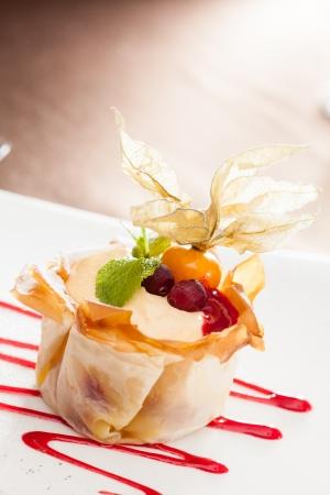 dessert with berries photo