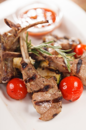 Grilled meat ribs photo