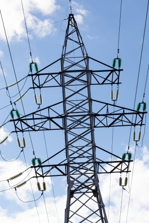 megawatt: High voltage tower at sky Stock Photo