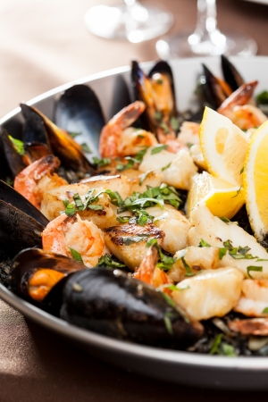 seafood paella in the fry pan Reklamní fotografie
