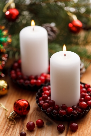 Christmas decorations with a candles photo