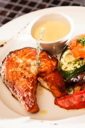 salmon steak with vegetables Stock Photo - 23333043